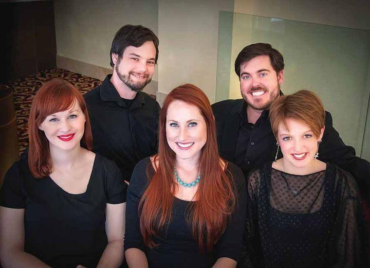 The five Utah Opera Resident Artists pose in concert attire.