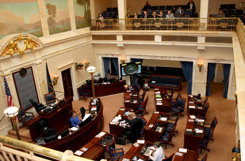 The Utah Senate chamber. The Senate narrowly defeated SB72, which had allocated $180,000 for the state Attorney General.