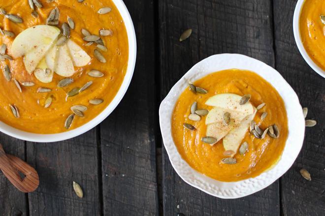 A recipe for squash/apple soup.