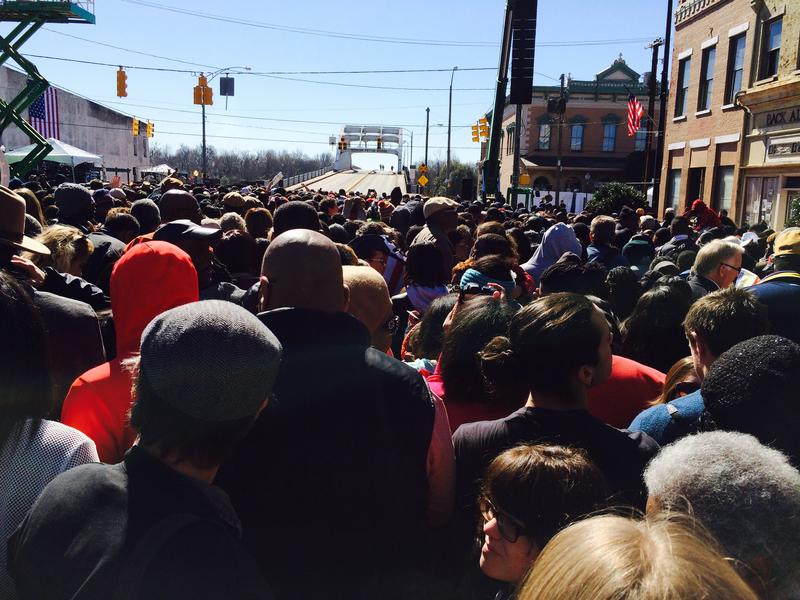 crowd gathers in Selma, Ala.