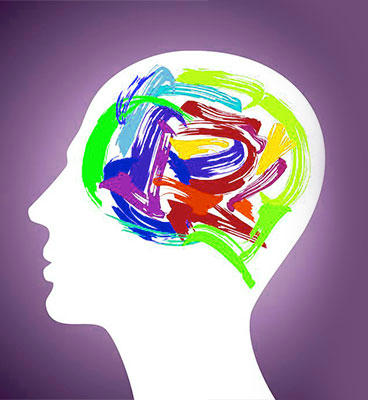 Stylized painting of a person with colorful paint strokes depicting the brain