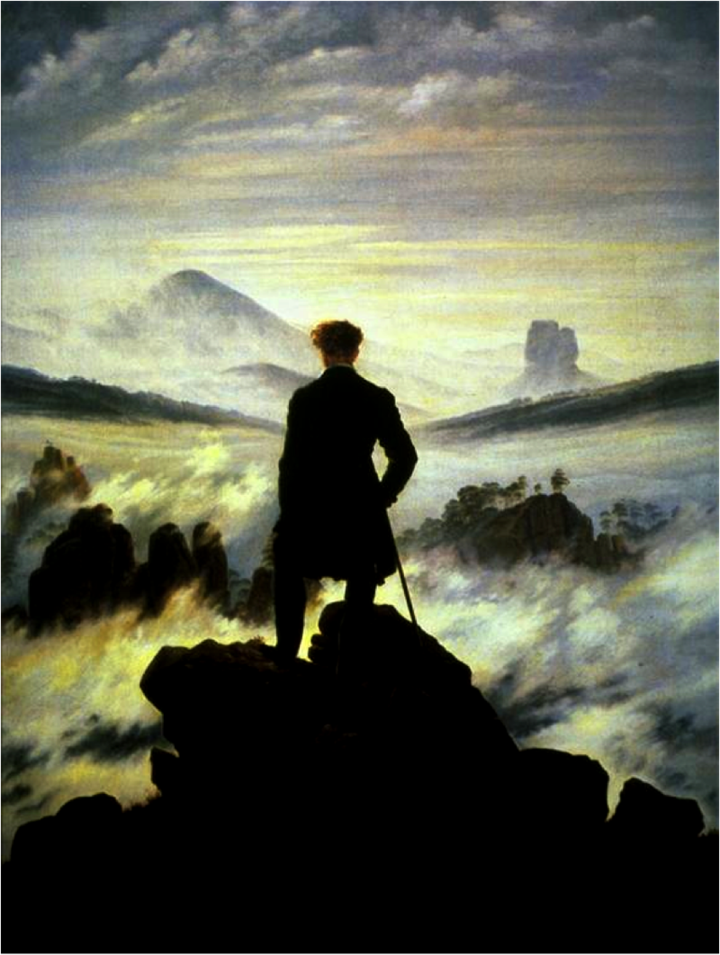 "The Romantic painting ""The Wanderer."" A man from on top of a mountain looks on a misty sea."