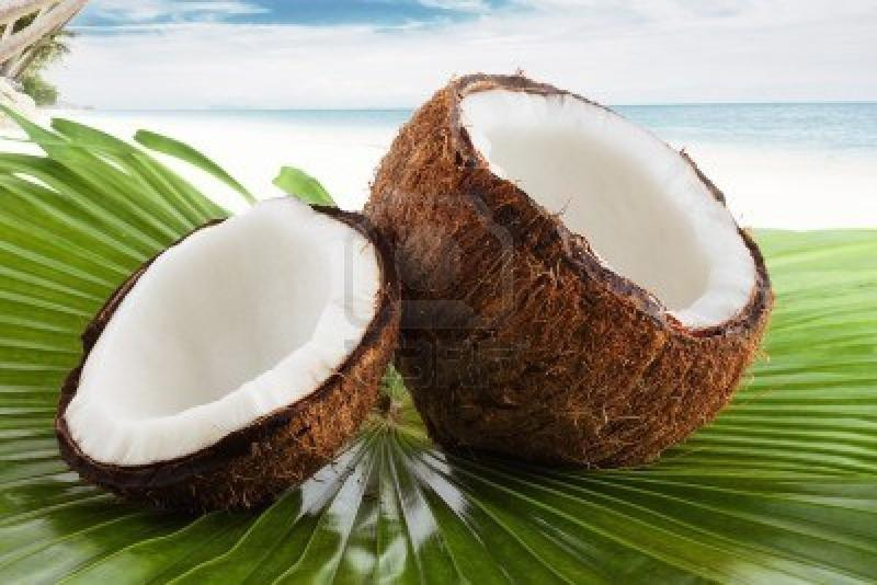 Photo of a split coconut