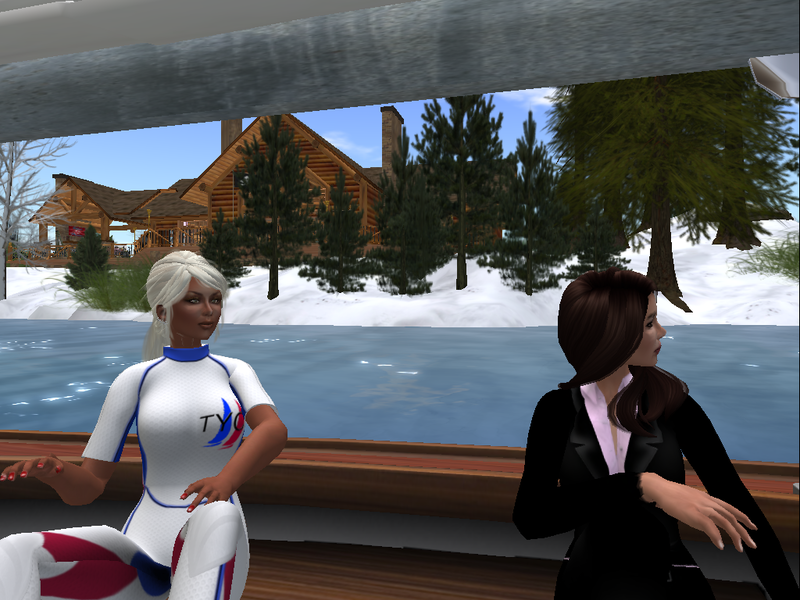 Wolf and Allison sailing the Blake Sea in Second Life