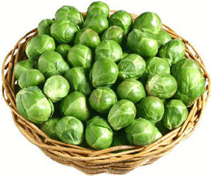 A small basket of Brussel sprouts