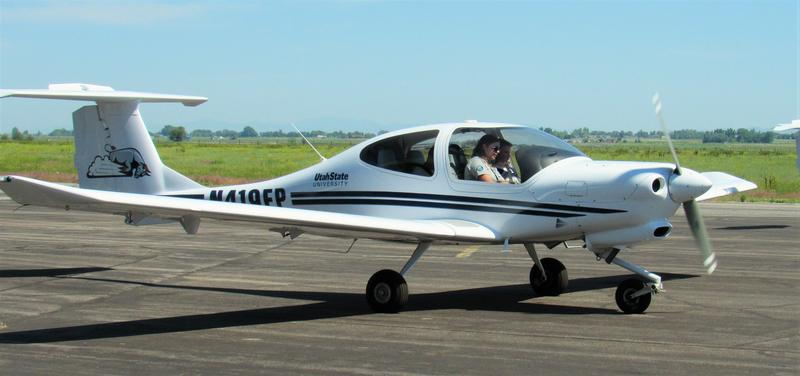 Brenton Boman takes off in a the plane for the first time.