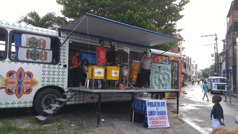 This Projeto Axe bus allows children and youth to perform Brazilian music to the community of Salvador.