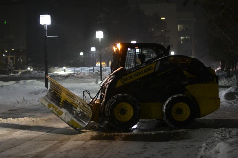 Snow removal on Utah State University campus.