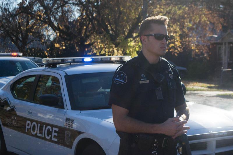 Policeman Micah Veehrs works to keep the streets of Logan, Utah safe on Nov. 11, 2016.