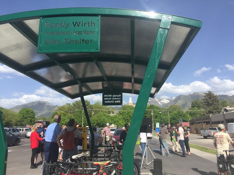 Members of the Cache Valley community gathered to dedicate the new bike hub to Randy Wirth, a local cycling activist, on May 12, 2017, in Logan, Utah.