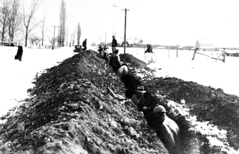 Digging waterline trenches in Cache Valley, circa 1935.