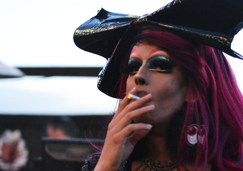 Utah Drag Queen Kay Bye smokes a cigarette at Club Jam in Salt Lake City, Utah, on June 6, 2017.