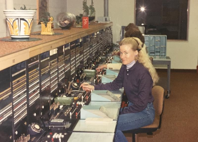 Kathy Schaffer working as a telephone operator in Moab, UT