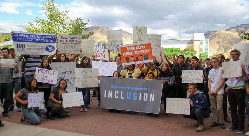 The Utah Satte University Democrats rally in support of DACA