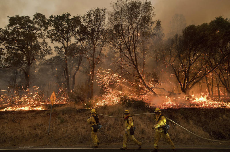 Firefighters try to keep a wildfire from jumping a street near Oroville, Calif.