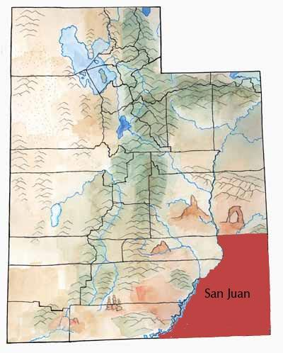 San Juan County, Utah, highlighted in red on a Utah state map