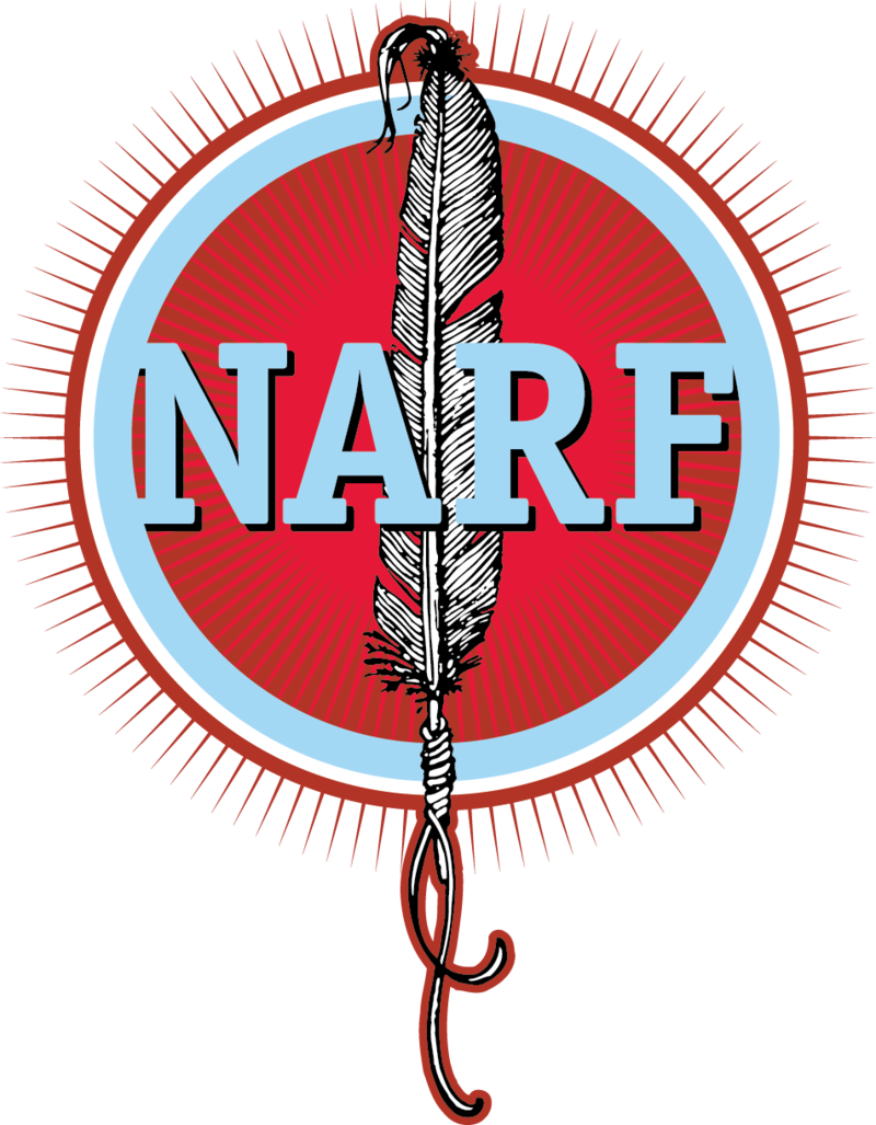Logo for the Native American Rights Fund, who is fighting for voting rights for Indian Country.