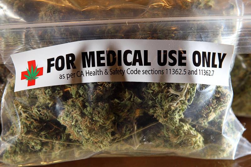 A bag of medical marijuana; Medical marijuana and marijuana for research purposes passes first committee meeting.