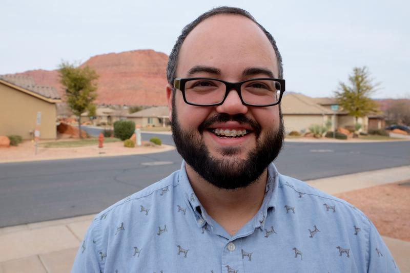 Randy Thomson, Executive Director of Youth Advocates of Southern Utah, outside his home in Ivins, Utah.