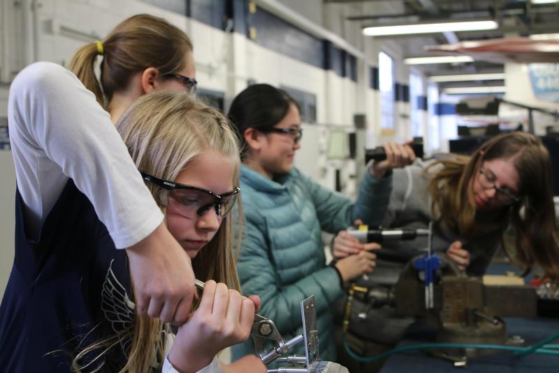 Girls in Aviation learn riveting