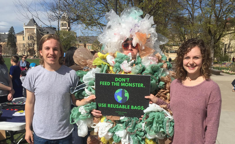 USU Student Organization for Sustainability and Natural Resources (SOSNR) raising awareness about plastic bags.