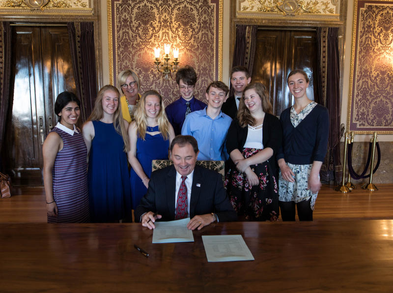 Ceremonial signing of climate resolution by Utah governor