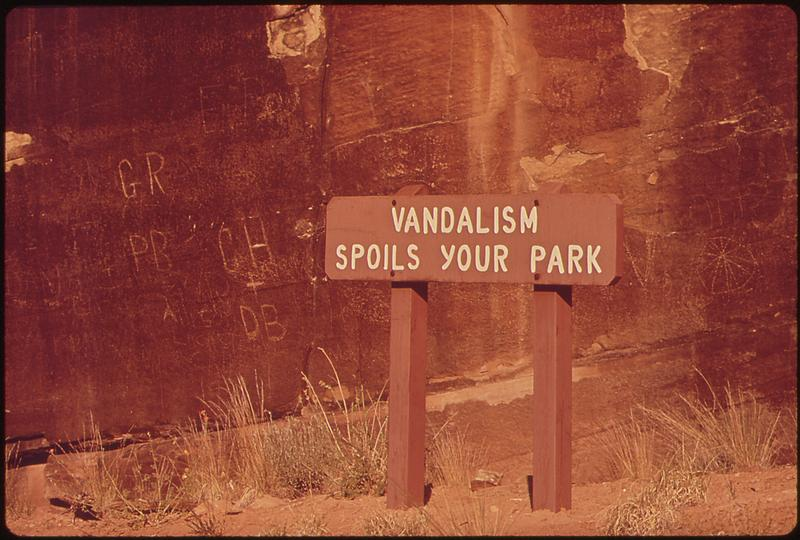 Vandalism is a common problem in Canyonlands, that can be exacerbated or mitigated by social media use.