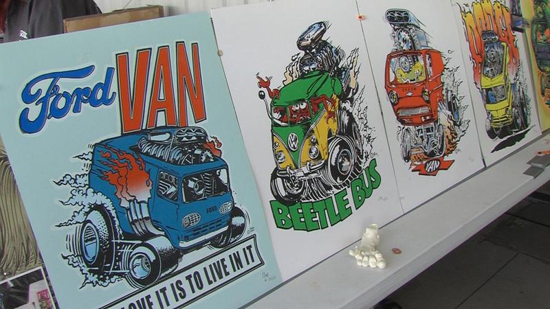 Serigraph work displayed during the Rat Fink Reunion in Millford, Utah