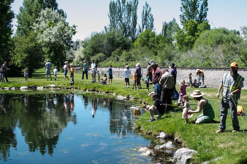 Bear River Celebration and Free Fishing Day: First-time anglers and volunteers gather around Skylar Pond and learn about stewardship over the watershed.