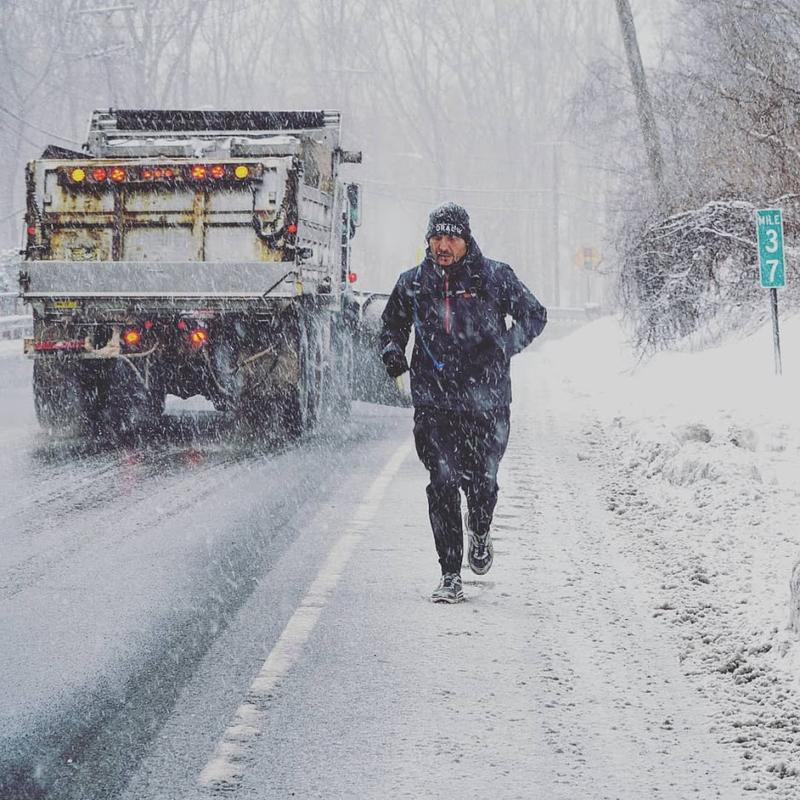 Ultra-endurance athlete Christian Griffith began his Run2Heal cross-country marathon run facing snow storms in Roxbury, NJ