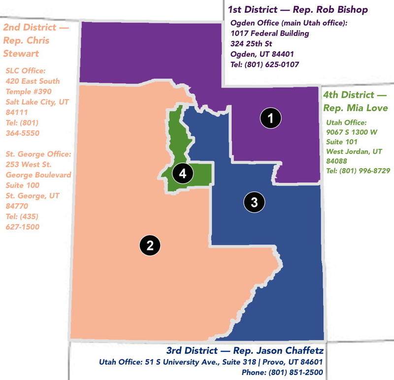 Map of Utah Congressional Districts