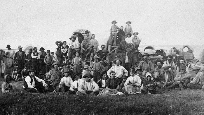 A group of Mormon pioneers at South Pass, Wyoming, circa 1859.