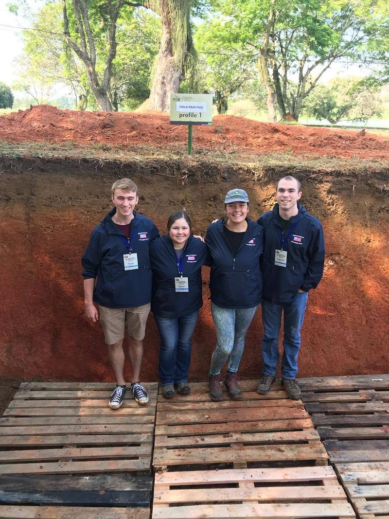 Emma, third from the left, with her U.S. soil judging team in Brazil.