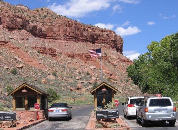 Zion National Park entrance.