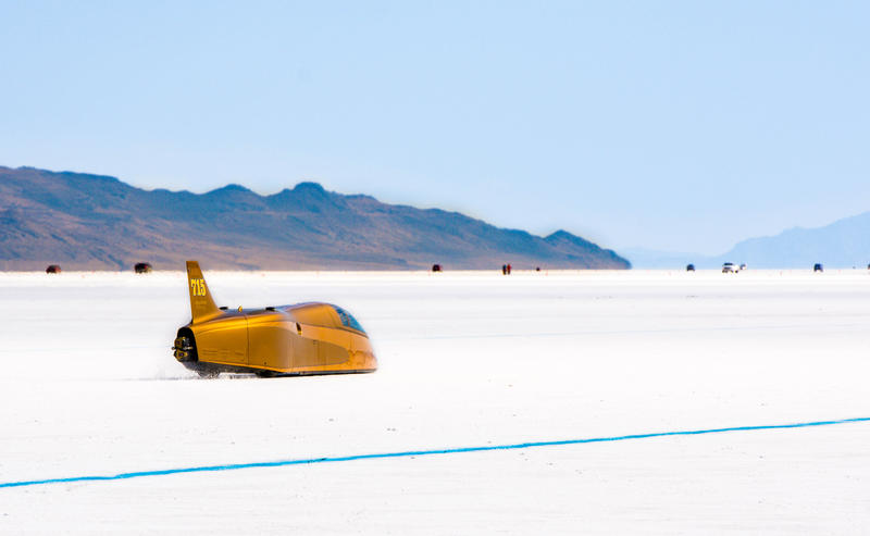 Yellow vehicle on Salt Flats: This year marks the 70th anniversary of Speed Week.
