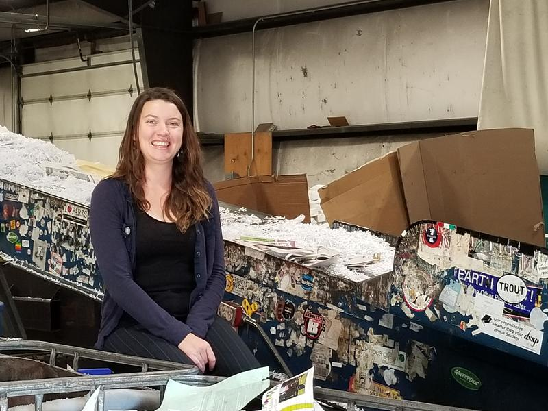 Paige  Morgan at the Utah State University Recycling Center