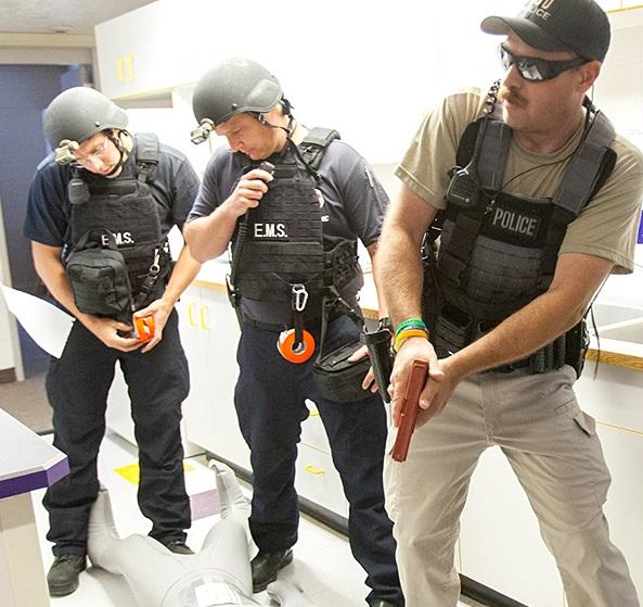Utah State University Police and Logan City emergency crews join Cache County EMT and SWAT teams for campu shooter training