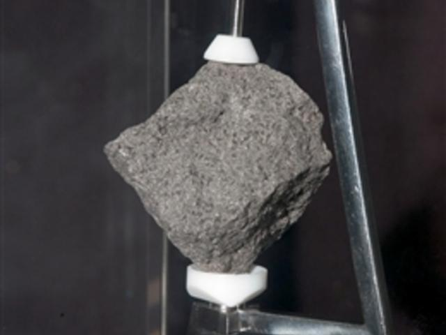 A sample of a moon rock brought back from the Apollo 11 mission.