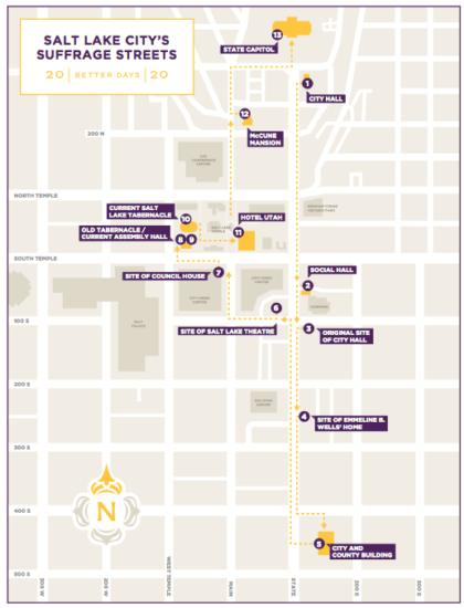 A walking tour of Salt Lake City highlights suffragist sites.