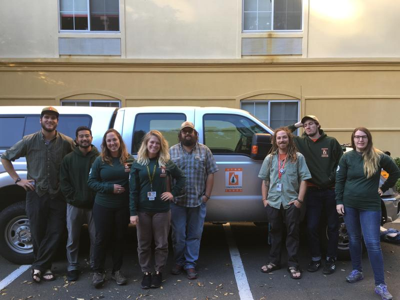 UCC members in front of a truck: The Utah Conservation Corps volunteers are in North Carolina to help with Hurricane Florence relief.