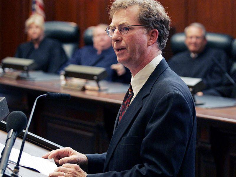 Associate Justice Brian Burgess gives his acceptance speech shortly after taking the oath of office at the Vermont Supreme Court, Sept. 6, 2005, in Montpelier.