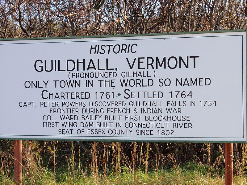 A sign welcomes visitors to Guildhall.