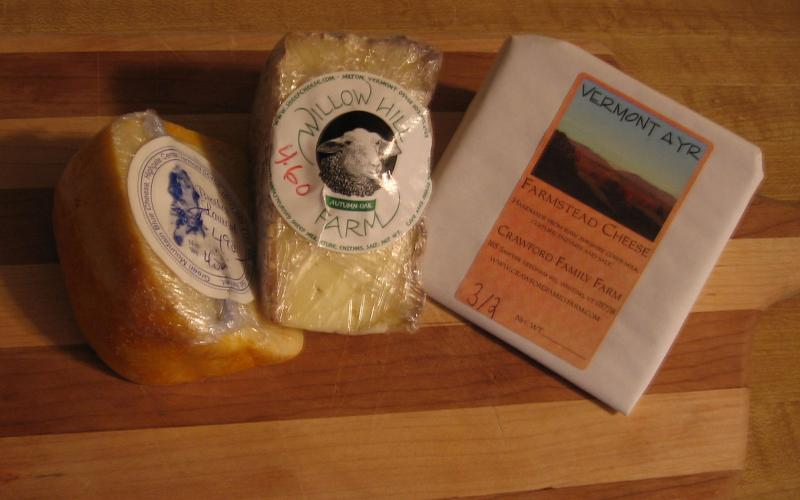 A selection of Vermont-made cheeses.