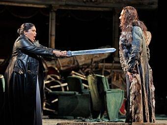 Lucrecia Garcia (Odabella) and Ferruccio Furlanetto (Attila) in the San Francisco Opera production of Verdi's Attila.