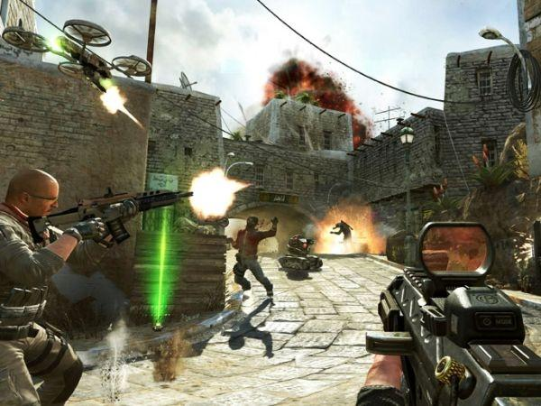 This undated publicity image released by Activision shows soldiers and terrorists battling in the streets of Yemen in a scene
