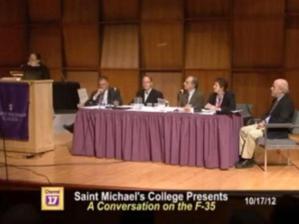 CCTV broadcasts a community forum at Saint Michael's College on the proposed basing of F-35s at the Burlington airport.