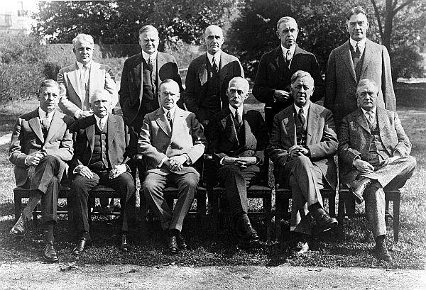 President Calvin Coolidge (front row, third from left) with his cabinet. Seated to Coolidge's left is Treasury Secretary Andrew