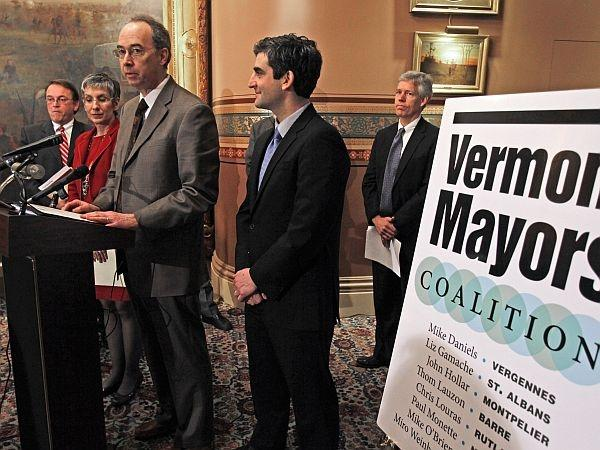 Winooski Mayor Mike O'Brien announces the formation of the Vermont Mayors Coalition at the State House.