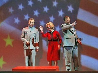 "Chen-Ye Yuan (Chou En-lai), Maria Kanyova (Pat Nixon), and Brian Mulligan (Richard Nixon) in, ""Nixon in China,"" by the San"
