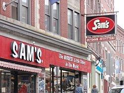 Sam's Outdoor Outfitters in downtown Brattleboro